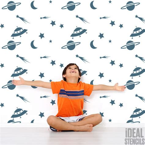 Childrens Bedroom Stencils by Boys Room Space Theme Stencil Paint Walls Fabrics