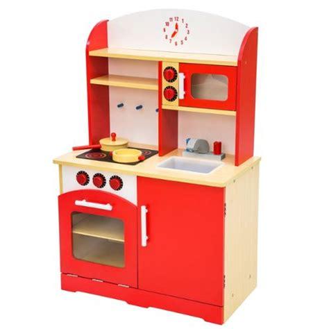 Cuisine En Bois Pour Enfant Rouge 60x30x91 Cm Tectake - Achat et vente