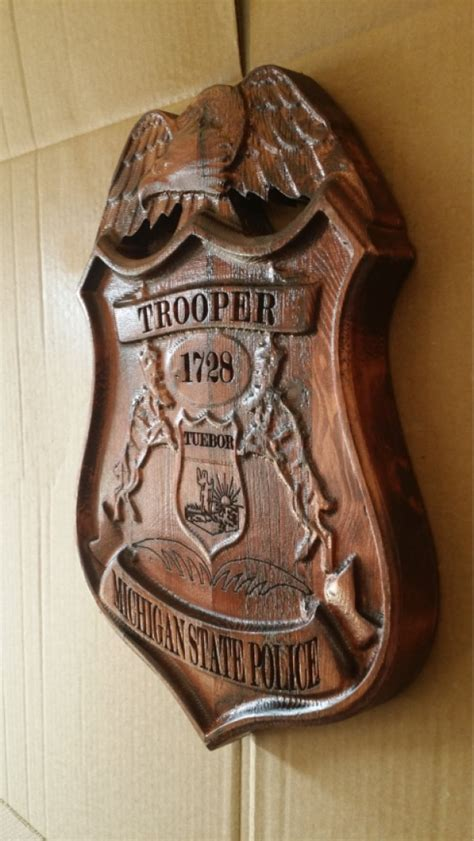carved personalized michigan state trooper police
