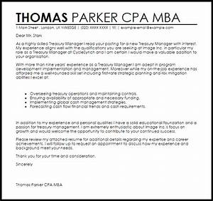 Mba Cover Letter Sample Treasury Manager Cover Letter Sample Cover Letter