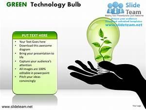Green technology bulb powerpoint ppt slides.