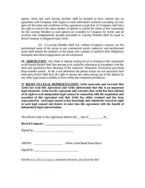 recording contract template recording contract template record label agreements agreement contract sle
