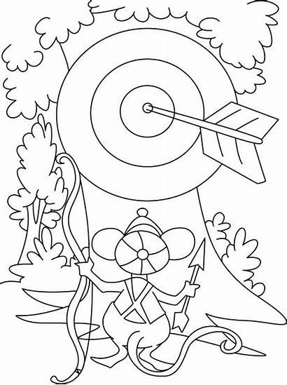 Bow Coloring Pages Archery Arrow Target Horizon