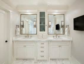 white vanity bathroom ideas center console cabinet transitional bathroom allwood construction