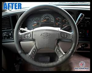 2003-2007 Chevy Silverado W  T Work Truck Leather Steering Wheel Cover  Driver  Black