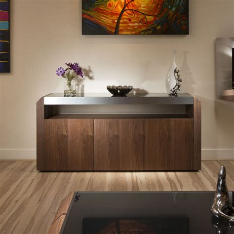 Contemporary Buffets And Sideboards by Modern Walnut Sideboard Cabinet Buffet Black Glass Top 1