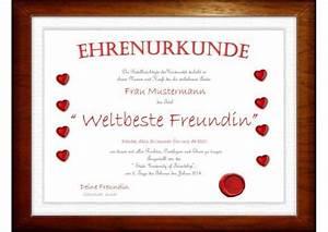 GESCHENK Auszeicnung Fr Die Beste Freundin Diplom EBay