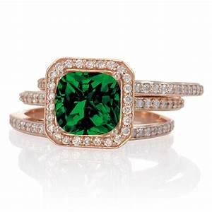 225 carat perfect princess cut emerald and diamond trio With emerald and diamond wedding ring sets
