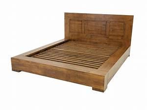 Lit Bois Massif Design : cadre de lit oscar en bois de ch taignier avec rebords et t te de lit meubles bois massif ~ Teatrodelosmanantiales.com Idées de Décoration