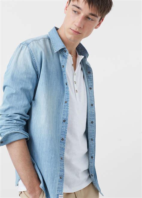 light denim shirt mens mango slim fit light denim shirt in blue for lyst
