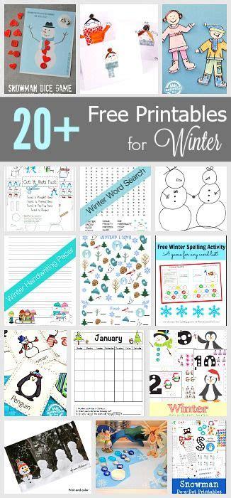 winter printables  kids winter activities