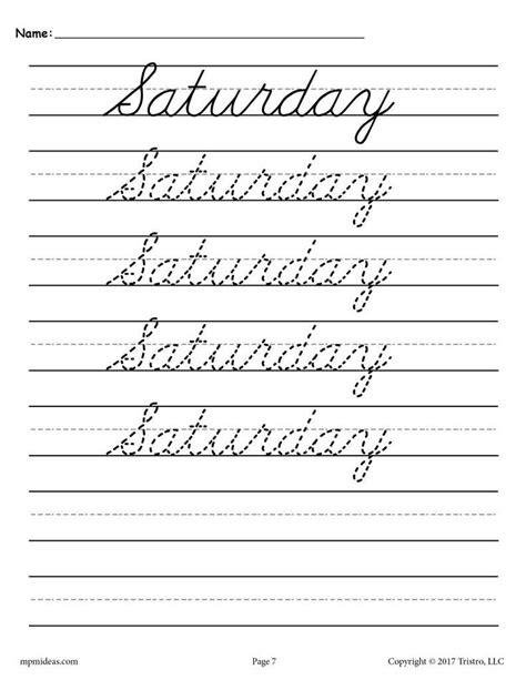 days   week cursive handwriting worksheets