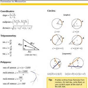 Geometry SOL Formula Sheet