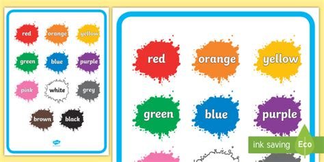 colour names  splats display poster teacher