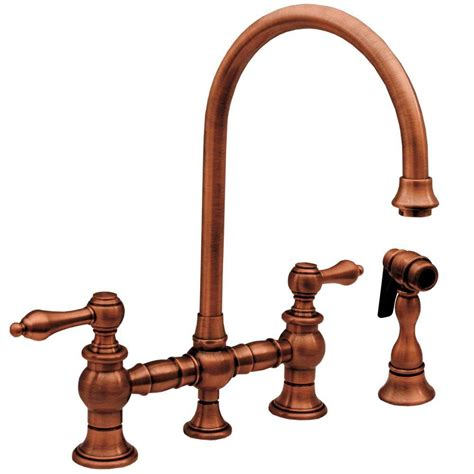 copper faucets kitchen whitehaus collection vintage iii 2 handle standard kitchen faucet with side sprayer in antique