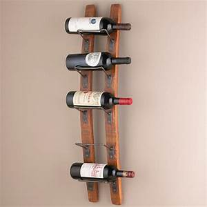 Wine Enthusiast Barrel Stave Wall Mounted 5 Bottle Wine