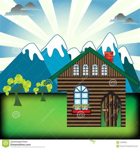 mountain cabin stock vector image  cloudy image
