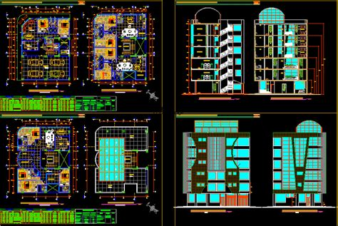 apartment building  storeys dwg elevation  autocad
