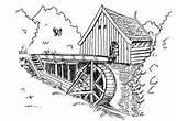Watermolen Watermill Plaatjes Wassermuhle Molino Animaatjes Opleiding Plaatje Meek Colorear Molen Lagret sketch template