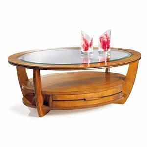 Table Basse Ronde Bois : table basse ronde bois et verre id es de d coration int rieure french decor ~ Teatrodelosmanantiales.com Idées de Décoration