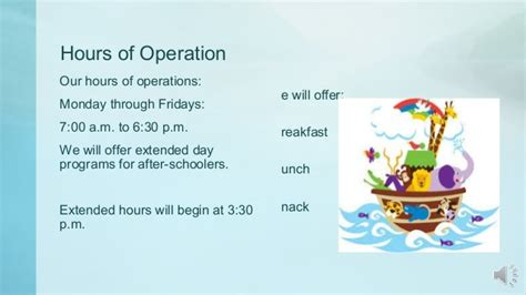 preschool hours of operation noah s ark daycare and learning centerrecording 628