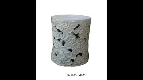 White Cloudy Stool - white cloud scoll ceramic garden stool