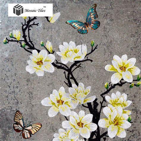 TST Mosaic Murals Gradient Color Jade Glass Butterfly