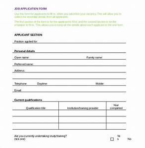 Employment application templates 10 free word pdf documents download free premium templates for Application templates for word