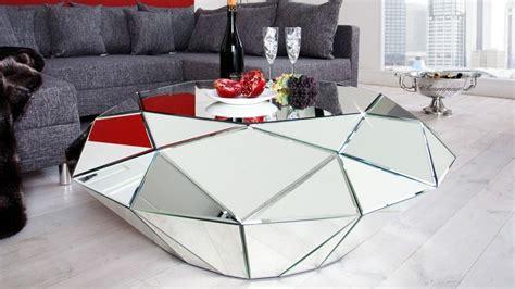 table de salon design miroir diamant  facettes tove