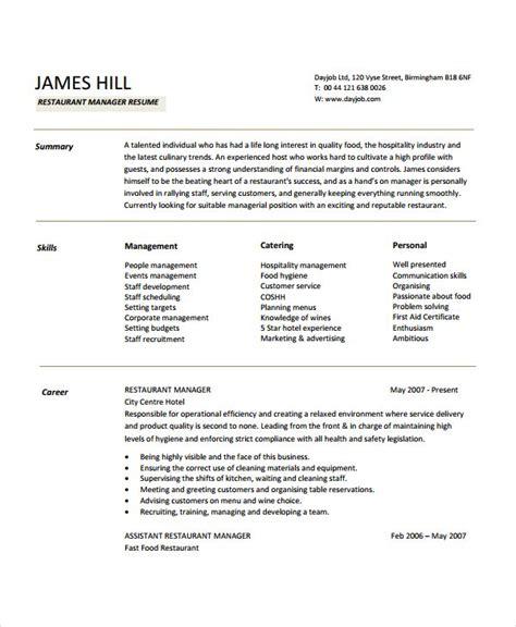 Restaurant Resume Templates by Restaurant Manager Resume Sle Creative Restaurant