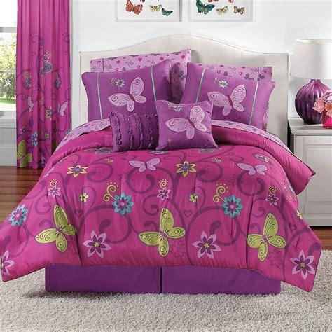 details about 10 piece girls comforter bedding set pink purple butterflies twin full queen