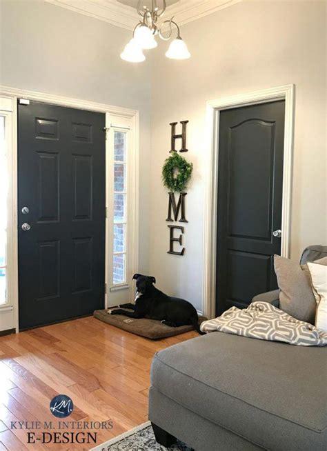 interior front door painted sherwin williams iron ore
