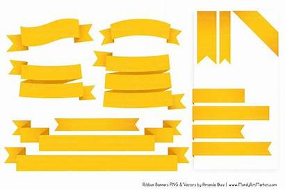 Ribbon Banner Yellow Clipart Pink Orange Classic