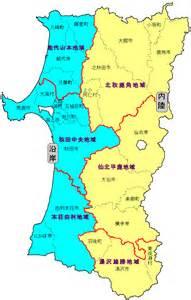 秋田県:秋田地方気象台   秋田県の区域細分地図