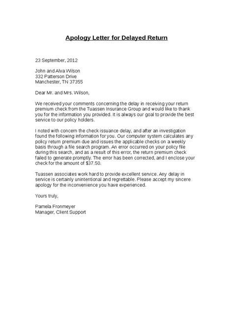 apology letter  delayed return hashdoc letter