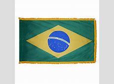 Brazil Flag 3 x 5 ft Indoor Display Flag with Gold Fringe