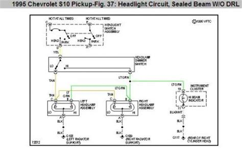 94 S10 Headlight Wiring by 1995 Chevy S 10 Headlight Grounds Where Are The Headlight
