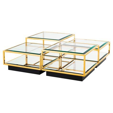 multi level coffee table eichholtz tortona hollywood regency gold beveled glass top