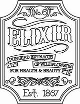 Apothecary Embroidery Victorian Urbanthreads Labels Elixir Label Patterns Halloween Designs Hand Steampunk Coloring Urban Threads Pages Regularsize Productimages Craft Awesome sketch template