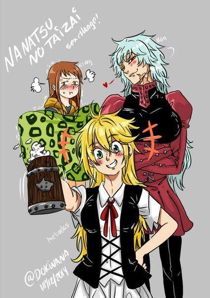 king x ban x meliodas genderbend the seven deadly sins pinterest anime and manga