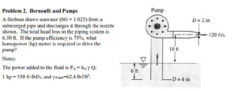 Fireboat Pumps by Solved Problem 2 Bernoulli And Pumps A Fireboat Dra