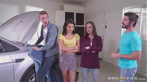 Step Sister And Horny Step Mom Share Big Dick Behind Dad