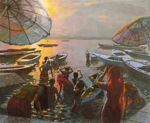 Rain Light Women Bathing At Varanasi Dawn 1 New English Art Club