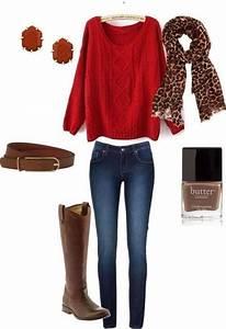 Suu00e9ter rojo con botas color chocolate excelente para fin de semana con los peques | Modas casual ...