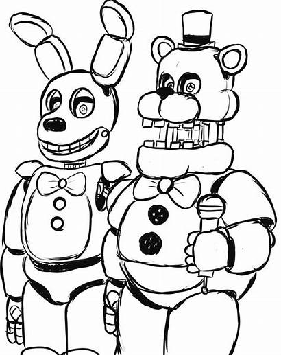 Freddy Nights Coloring Five Pages Freddys Fnaf