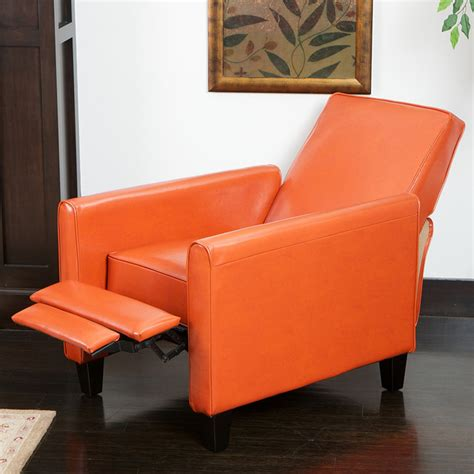lucas orange leather recliner club chair modern living