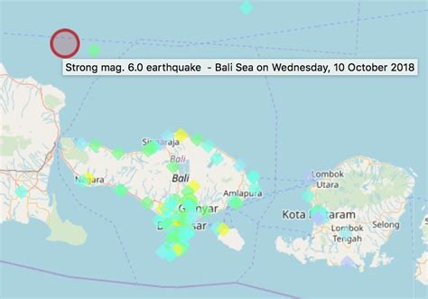 latest earthquakes  bali indonesia interactive map