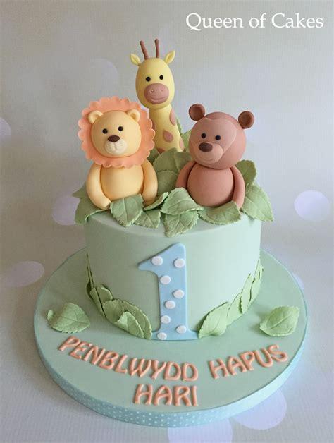 pastel jungle baby boy st birthday cake babak boys