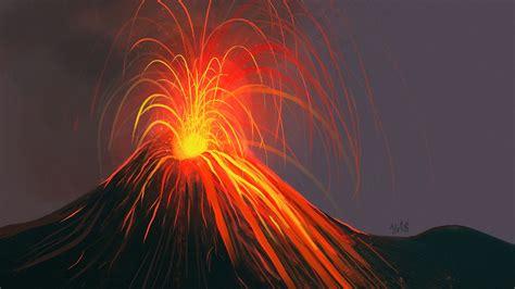 Download Wallpaper 3840x2160 Volcano Eruption Art 4k Uhd