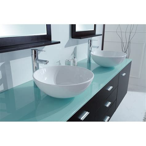 Double Bathroom Sink Tops by Luna 72 Inch Wall Mounted Double Sink Vanity Glass Top
